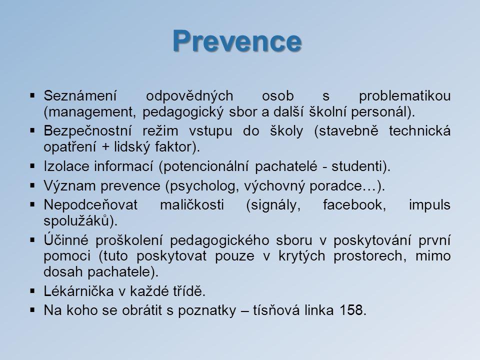 Prevence Seznámení odpovědných osob s problematikou (management, pedagogický sbor a další školní personál).