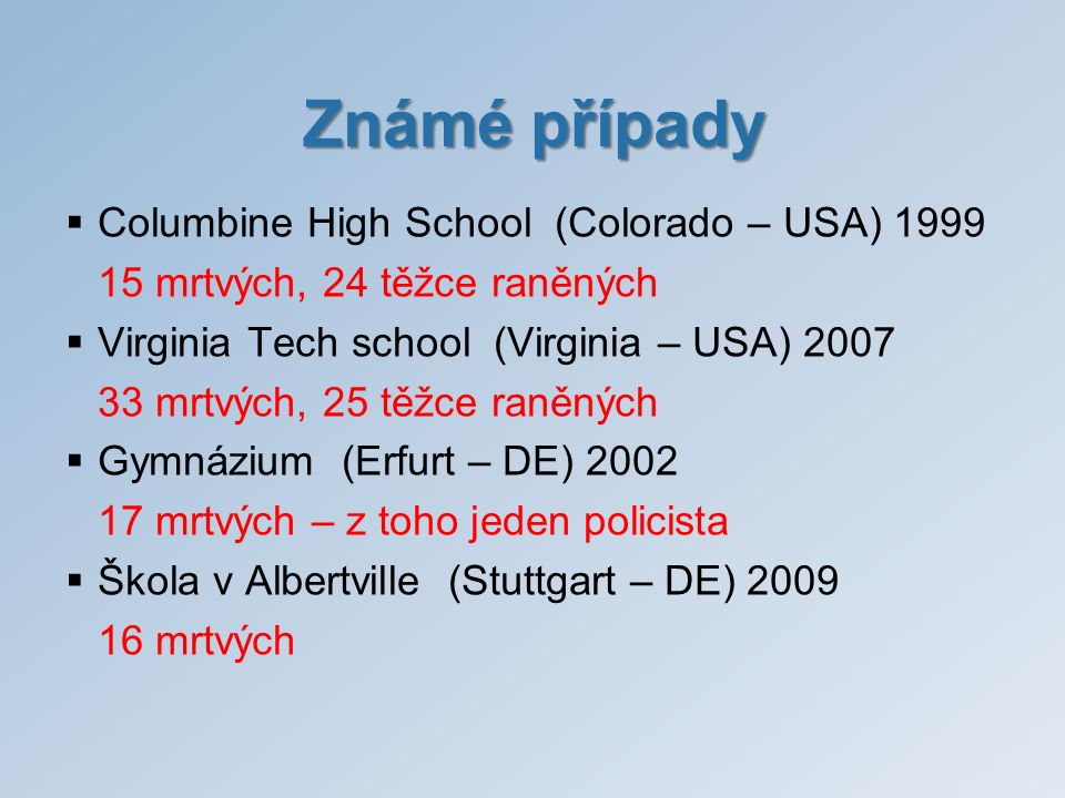 Známé případy Columbine High School (Colorado – USA) 1999