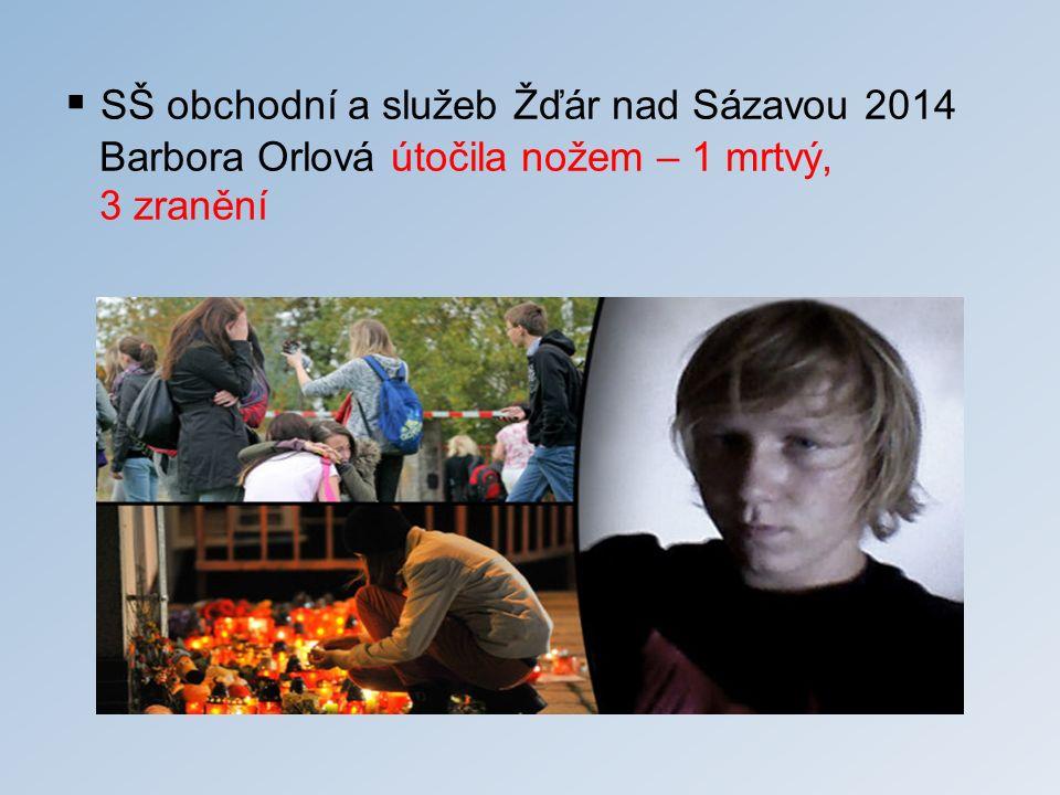 SŠ obchodní a služeb Žďár nad Sázavou 2014 Barbora Orlová útočila nožem – 1 mrtvý, 3 zranění