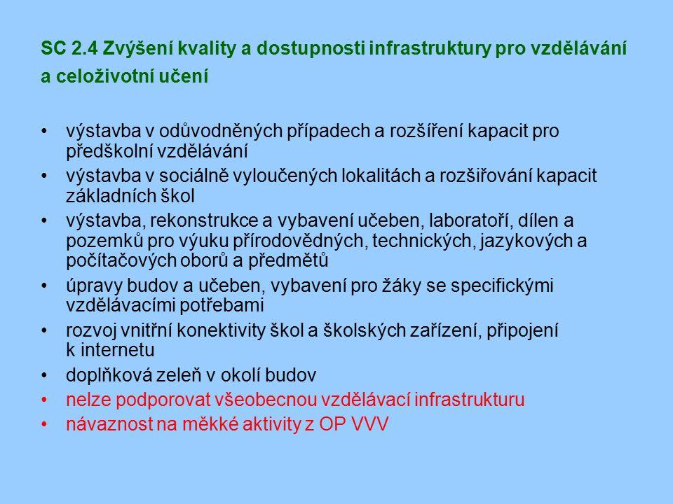 SC 2.4 Zvýšení kvality a dostupnosti infrastruktury pro vzdělávání a celoživotní učení