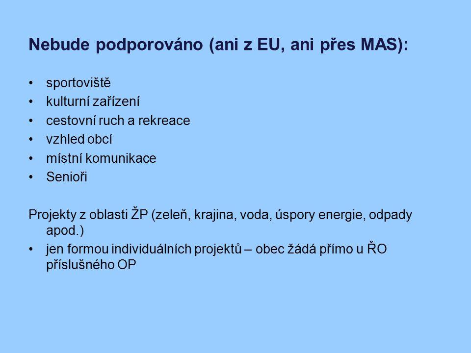 Nebude podporováno (ani z EU, ani přes MAS):