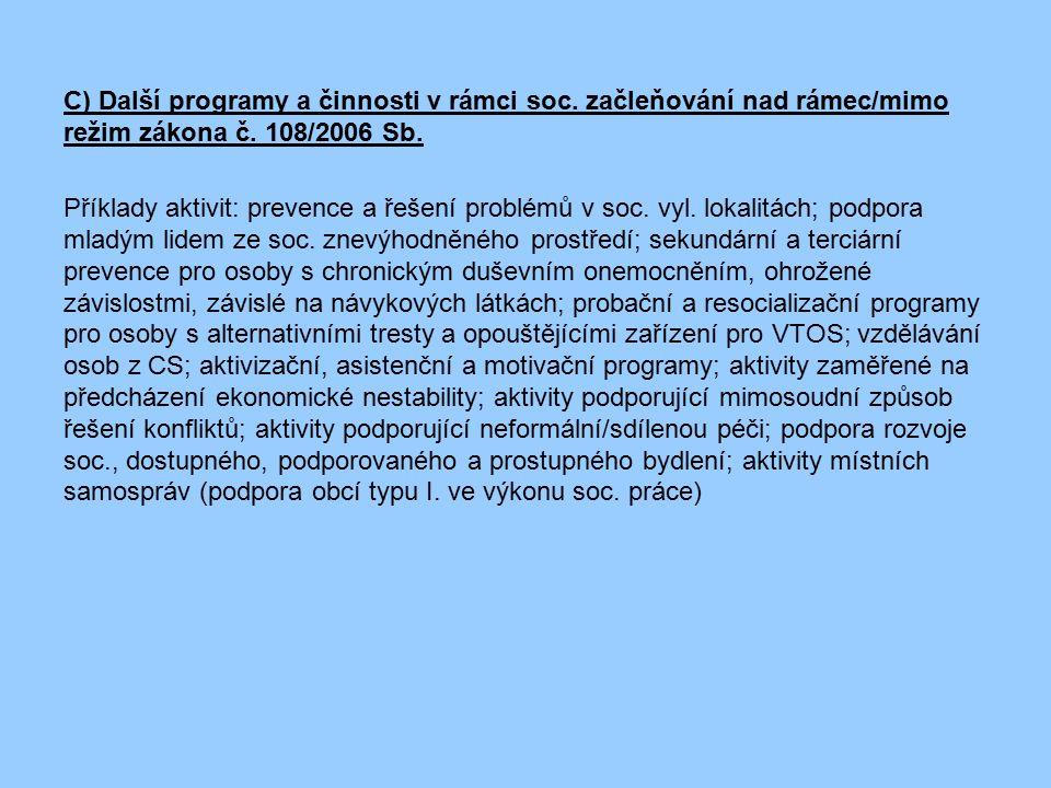 C) Další programy a činnosti v rámci soc