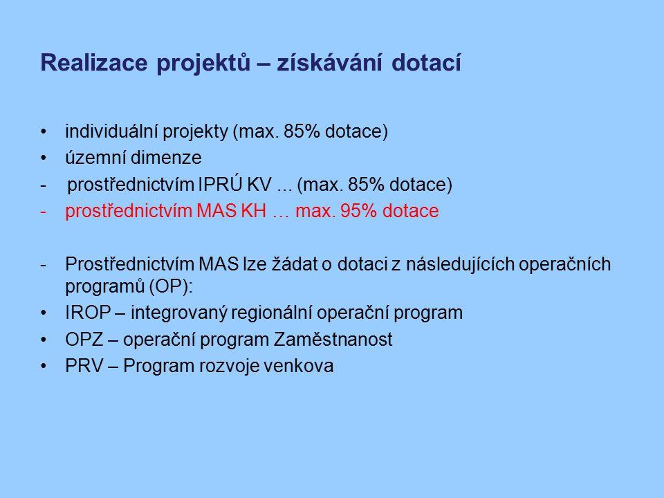 Realizace projektů – získávání dotací