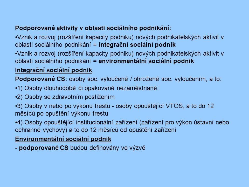 Podporované aktivity v oblasti sociálního podnikání: