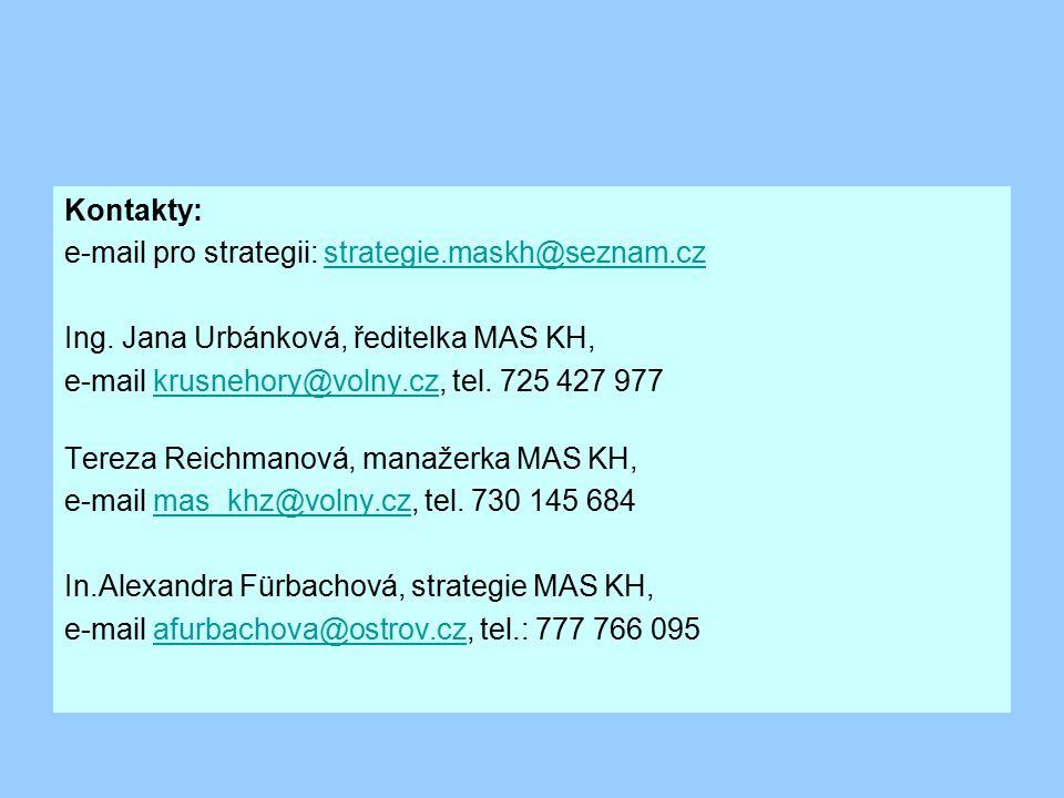 Kontakty: e-mail pro strategii: strategie. maskh@seznam. cz Ing