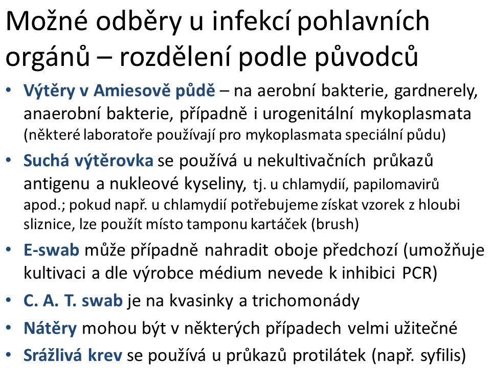Možné odběry u infekcí pohlavních orgánů – rozdělení podle původců