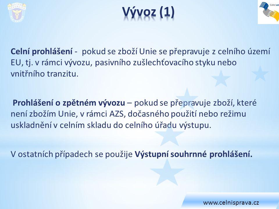 www.celnisprava.cz Vývoz (1)
