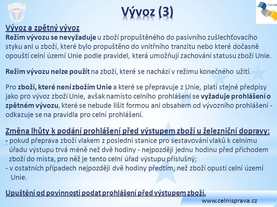 www.celnisprava.cz Vývoz (3)