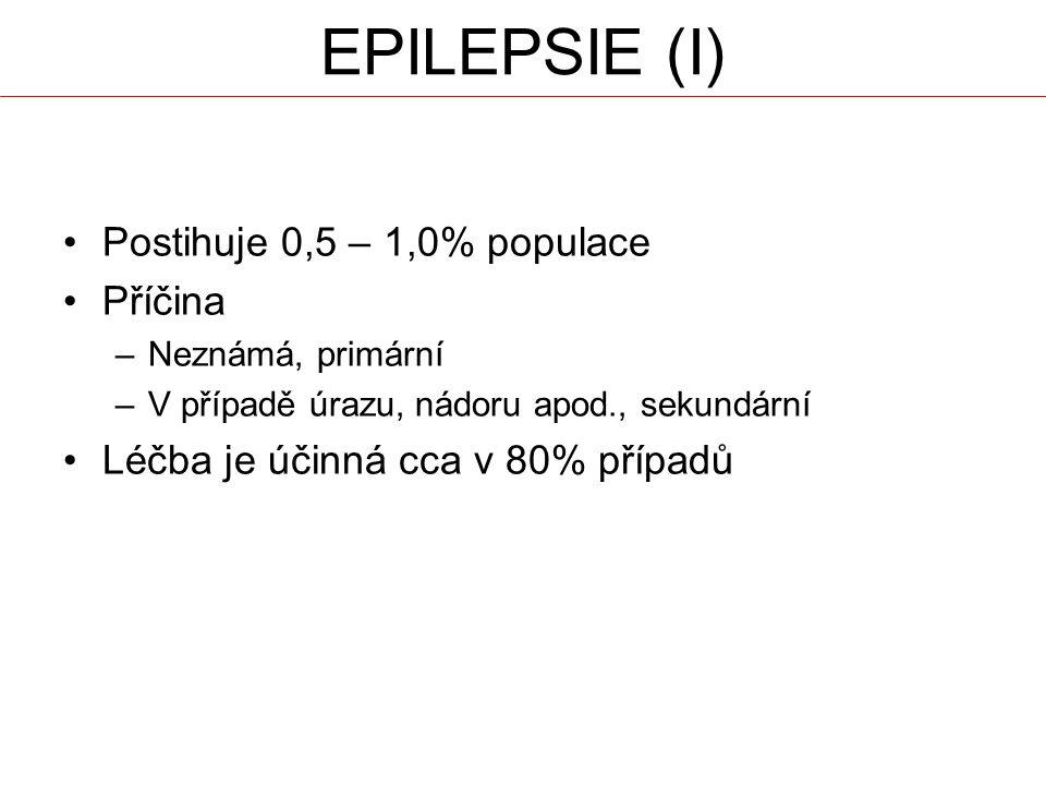 EPILEPSIE (I) Postihuje 0,5 – 1,0% populace Příčina