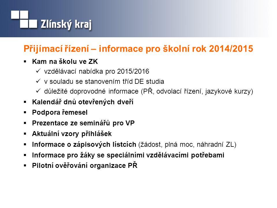 Přijímací řízení – informace pro školní rok 2014/2015