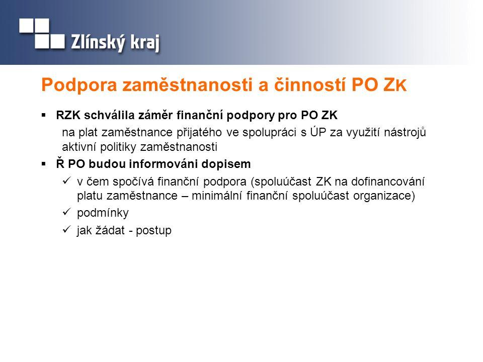 Podpora zaměstnanosti a činností PO ZK