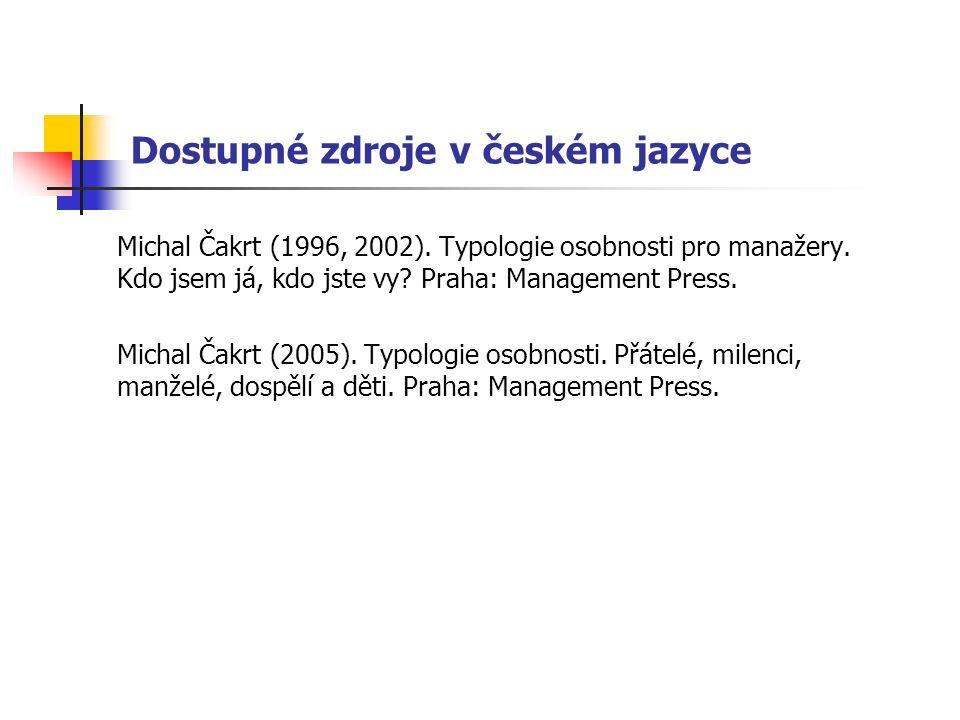 Dostupné zdroje v českém jazyce