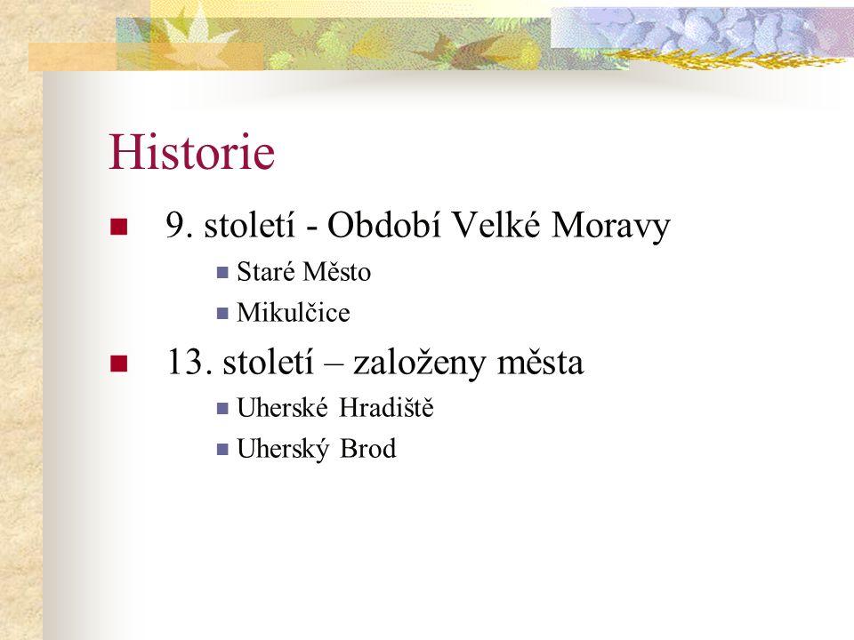Historie 9. století - Období Velké Moravy 13. století – založeny města