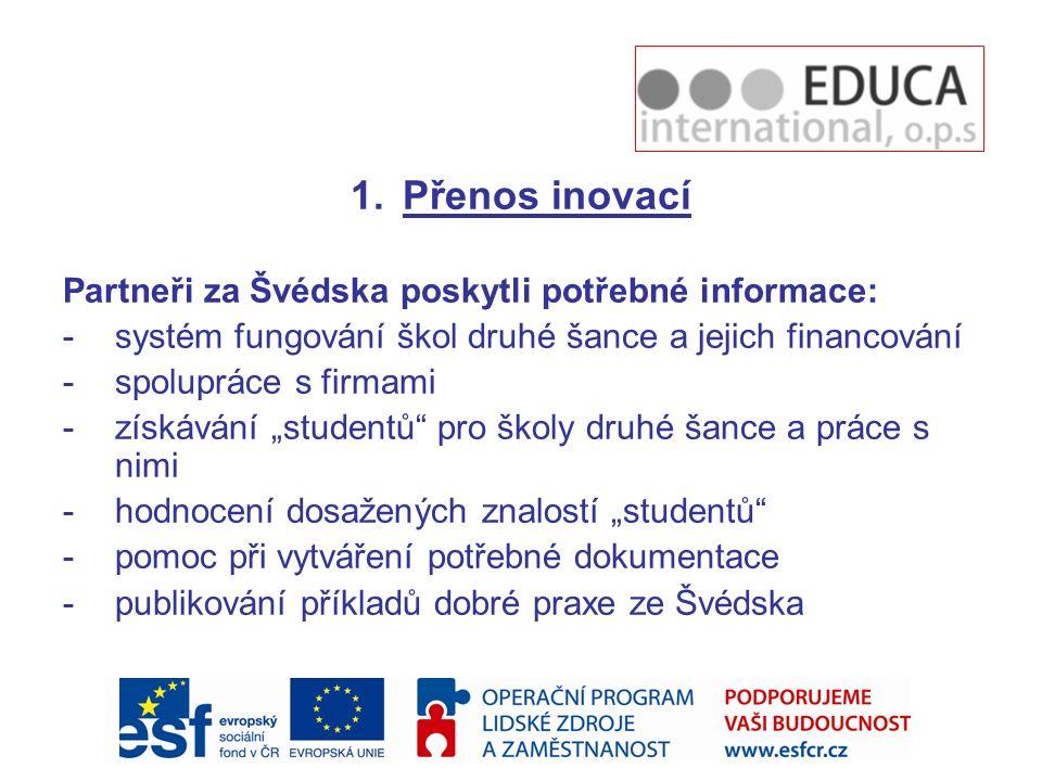 Přenos inovací Partneři za Švédska poskytli potřebné informace: