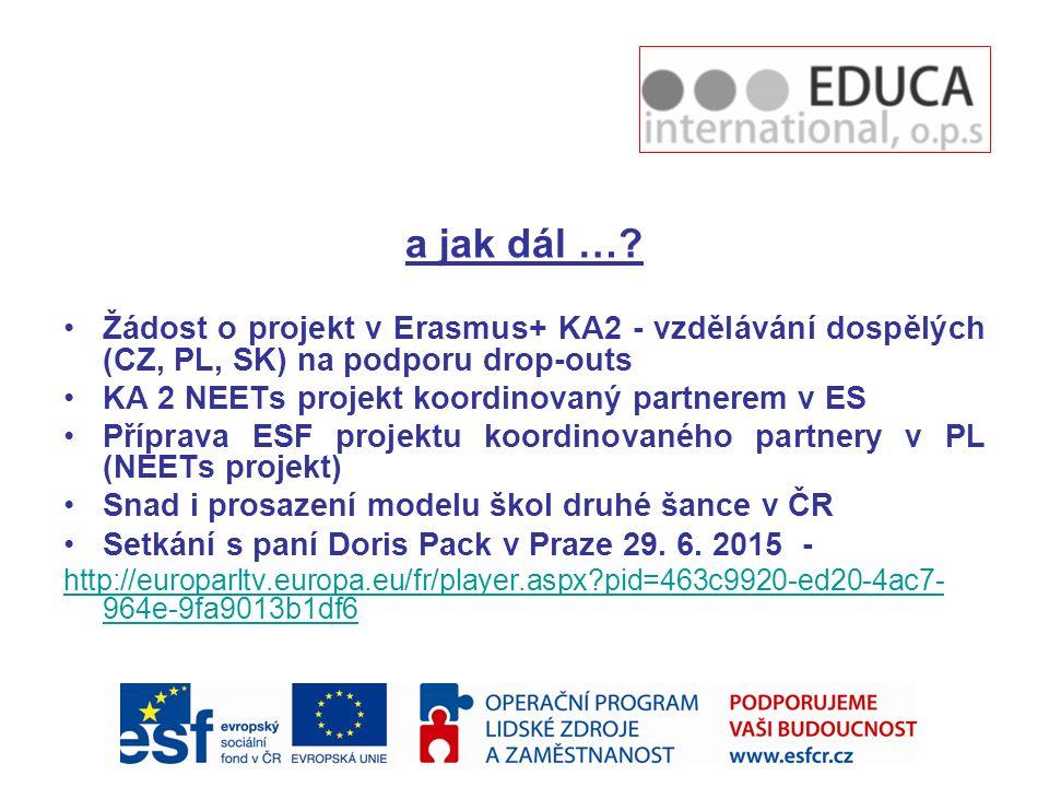 a jak dál … Žádost o projekt v Erasmus+ KA2 - vzdělávání dospělých (CZ, PL, SK) na podporu drop-outs.