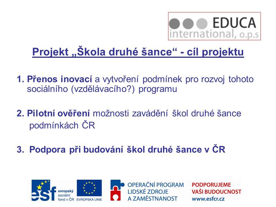 """Projekt """"Škola druhé šance - cíl projektu"""