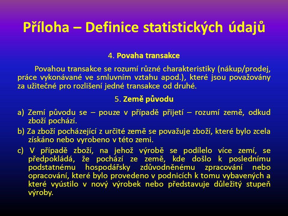 Příloha – Definice statistických údajů
