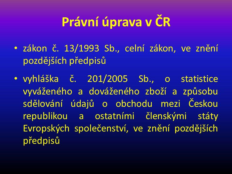 Právní úprava v ČR zákon č. 13/1993 Sb., celní zákon, ve znění pozdějších předpisů.