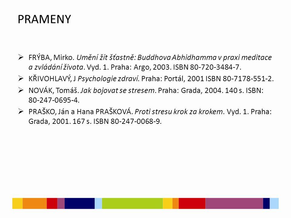 PRAMENY FRÝBA, Mirko. Umění žít šťastně: Buddhova Abhidhamma v praxi meditace a zvládání života. Vyd. 1. Praha: Argo, 2003. ISBN 80-720-3484-7.