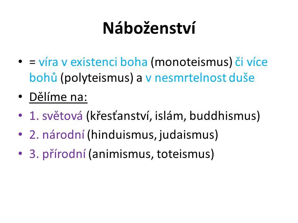 Náboženství = víra v existenci boha (monoteismus) či více bohů (polyteismus) a v nesmrtelnost duše.