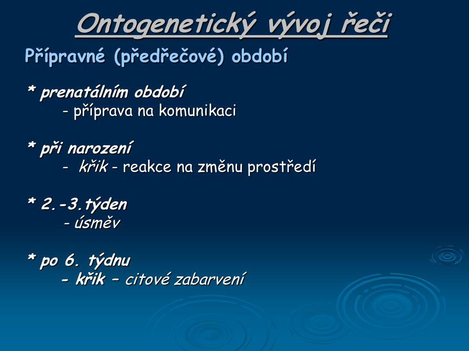 Ontogenetický vývoj řeči