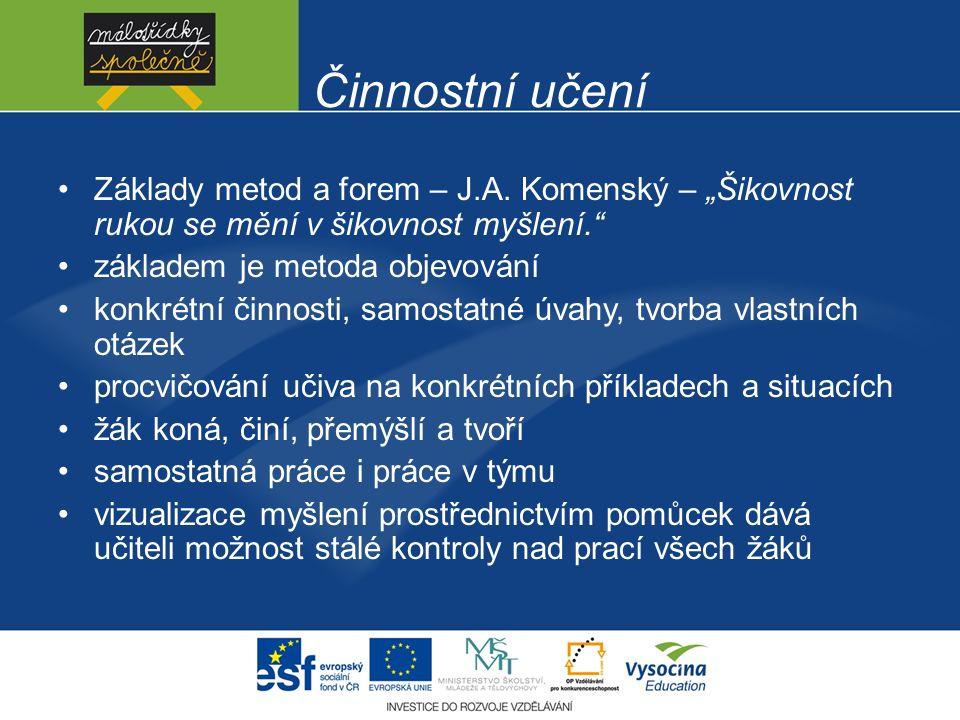 """Činnostní učení Základy metod a forem – J.A. Komenský – """"Šikovnost rukou se mění v šikovnost myšlení."""