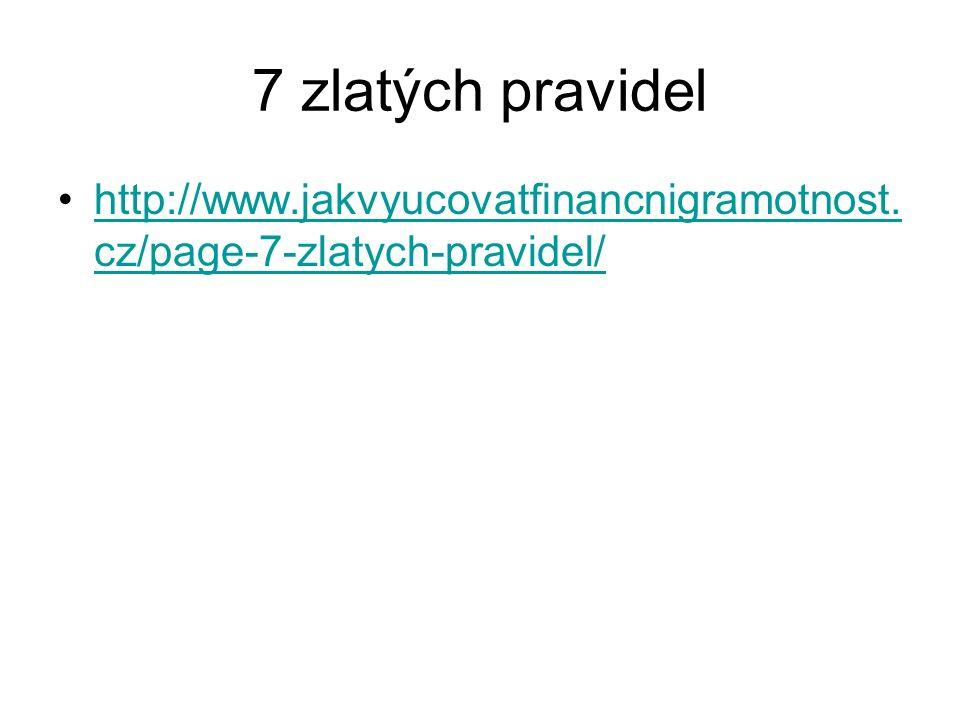 7 zlatých pravidel http://www.jakvyucovatfinancnigramotnost.cz/page-7-zlatych-pravidel/