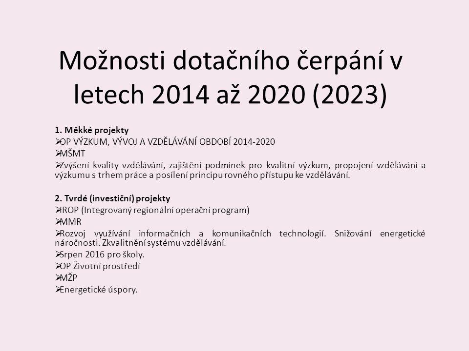 Možnosti dotačního čerpání v letech 2014 až 2020 (2023)
