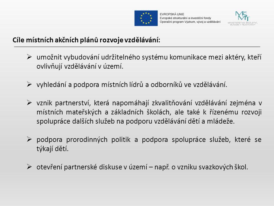 Cíle místních akčních plánů rozvoje vzdělávání: