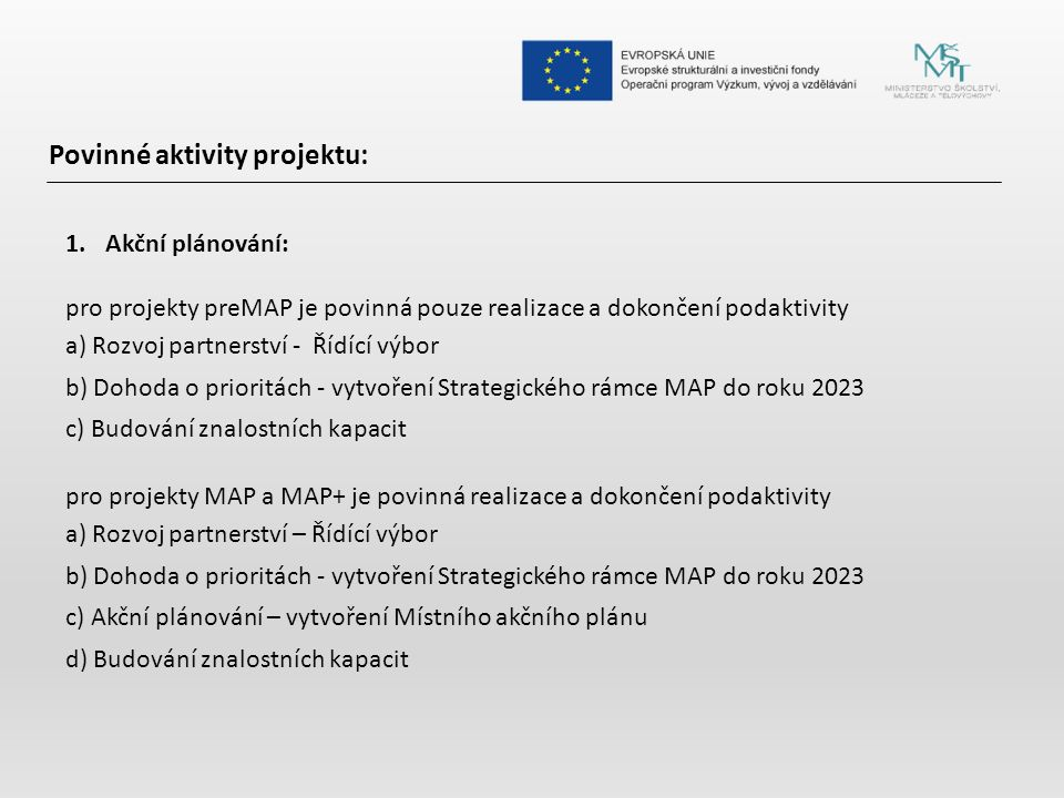 Povinné aktivity projektu: