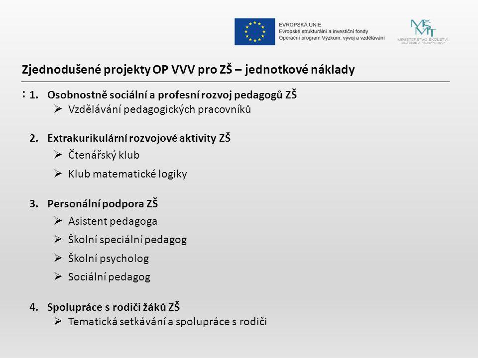 Zjednodušené projekty OP VVV pro ZŠ – jednotkové náklady :