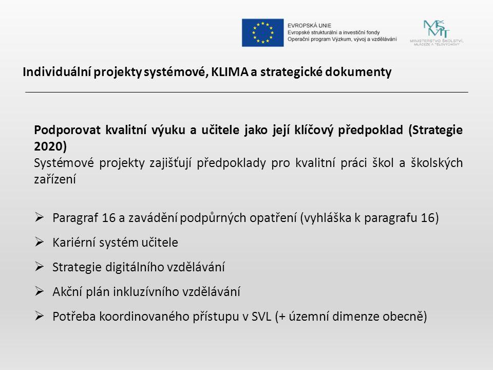 Individuální projekty systémové, KLIMA a strategické dokumenty