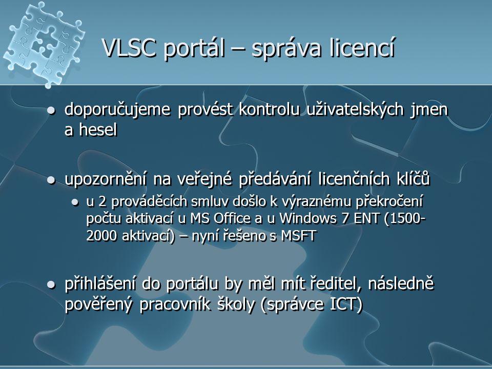 VLSC portál – správa licencí