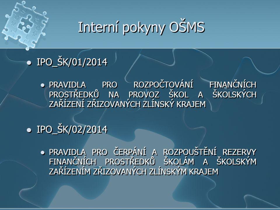 Interní pokyny OŠMS IPO_ŠK/01/2014 IPO_ŠK/02/2014