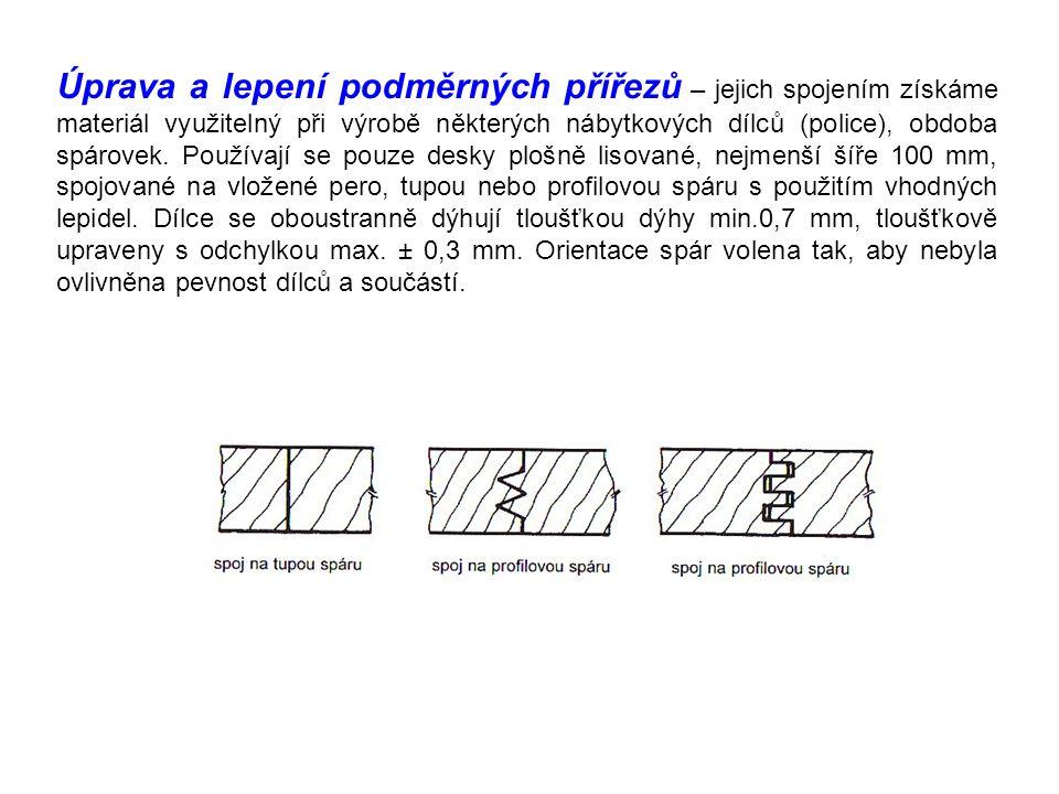 Úprava a lepení podměrných přířezů – jejich spojením získáme materiál využitelný při výrobě některých nábytkových dílců (police), obdoba spárovek.