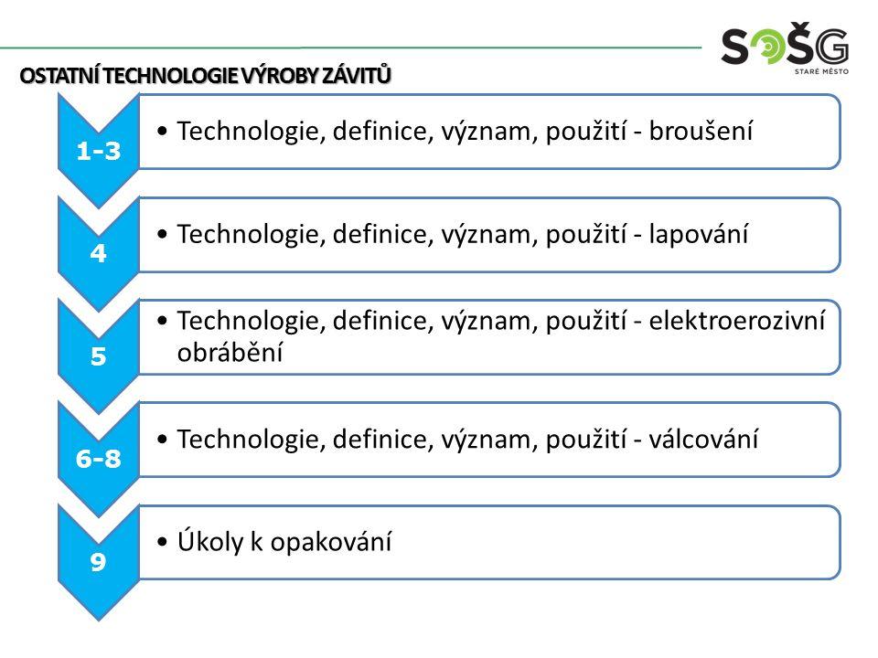 Technologie, definice, význam, použití - broušení