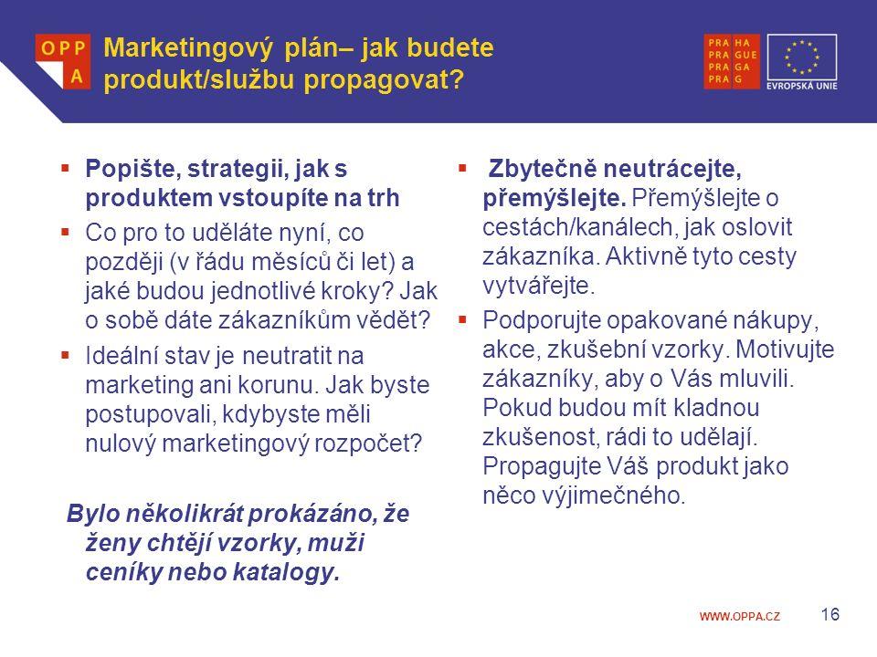 Marketingový plán– jak budete produkt/službu propagovat