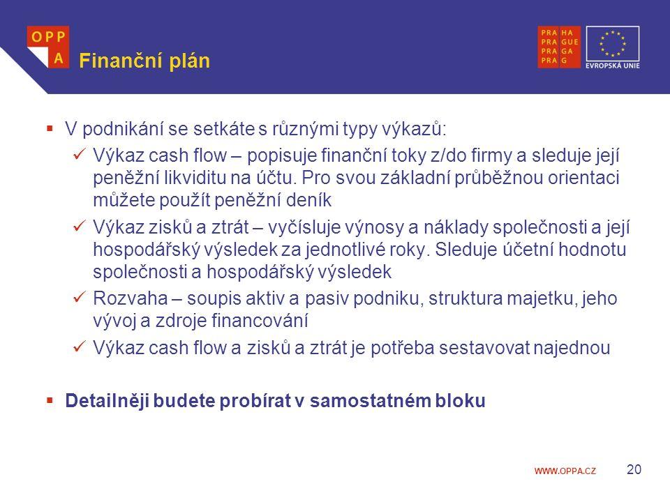 Finanční plán V podnikání se setkáte s různými typy výkazů: