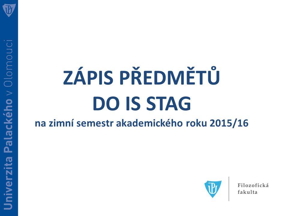 na zimní semestr akademického roku 2015/16