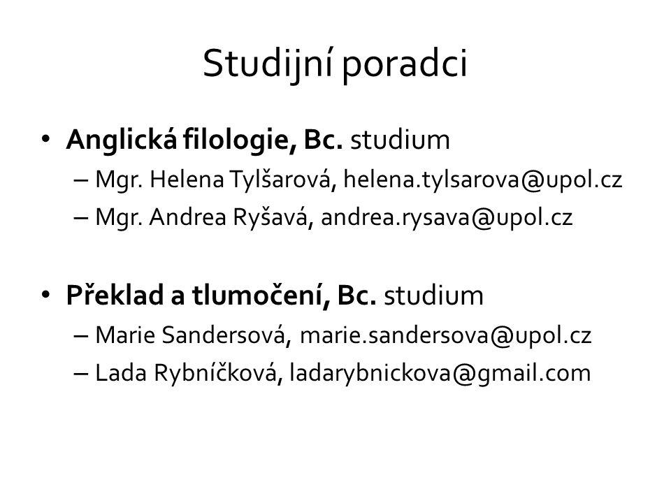 Studijní poradci Anglická filologie, Bc. studium