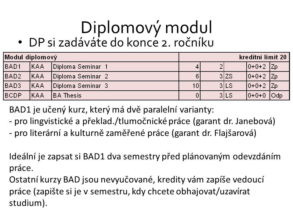 Diplomový modul DP si zadáváte do konce 2. ročníku