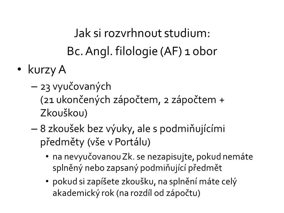 Jak si rozvrhnout studium: Bc. Angl. filologie (AF) 1 obor kurzy A
