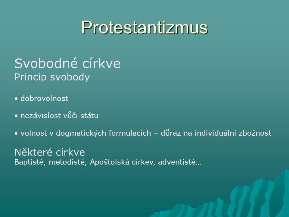 Protestantizmus Svobodné církve Princip svobody Některé církve