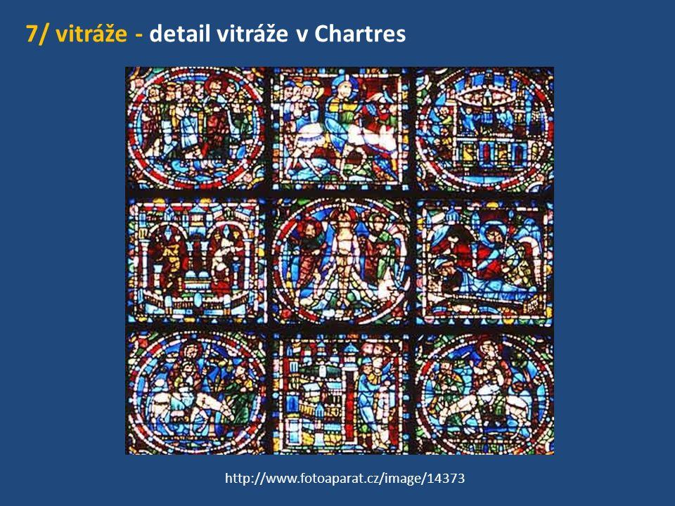 7/ vitráže - detail vitráže v Chartres