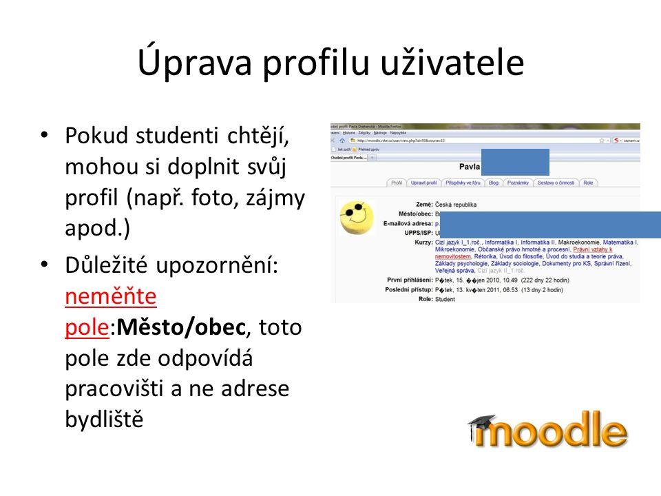 Úprava profilu uživatele