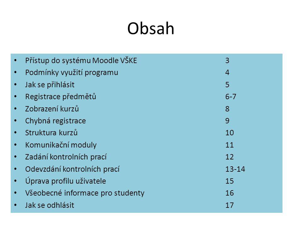 Obsah Přístup do systému Moodle VŠKE 3 Podmínky využití programu 4