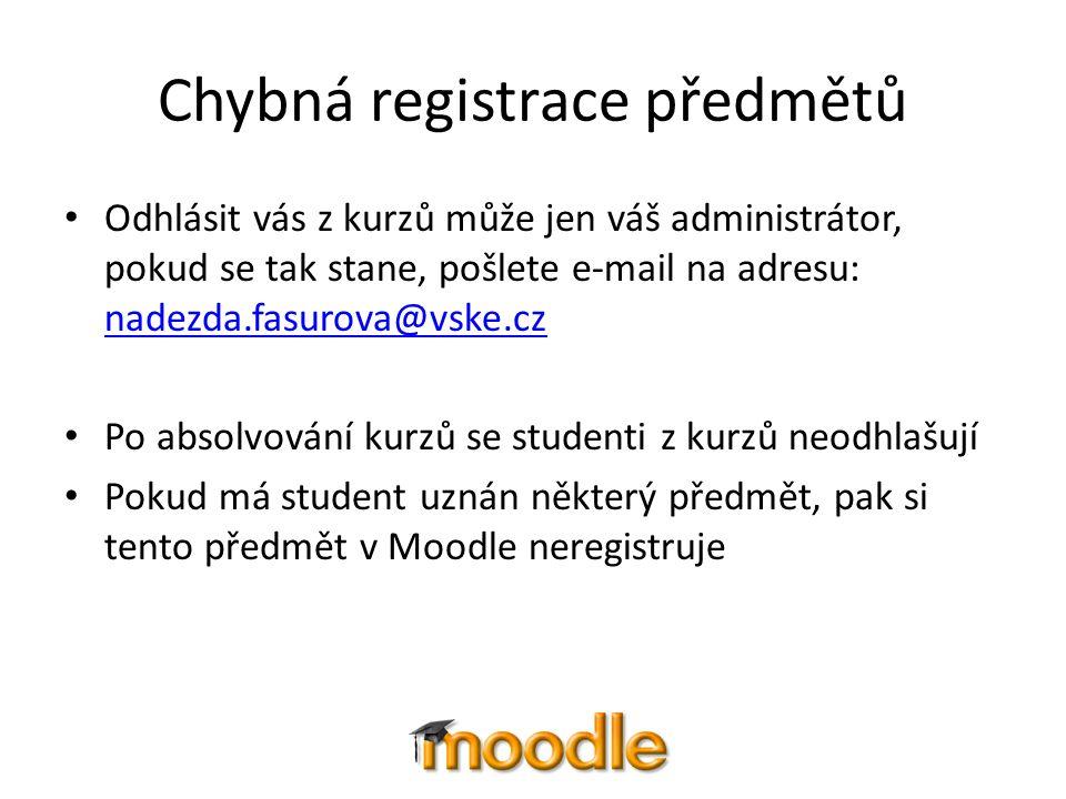 Chybná registrace předmětů