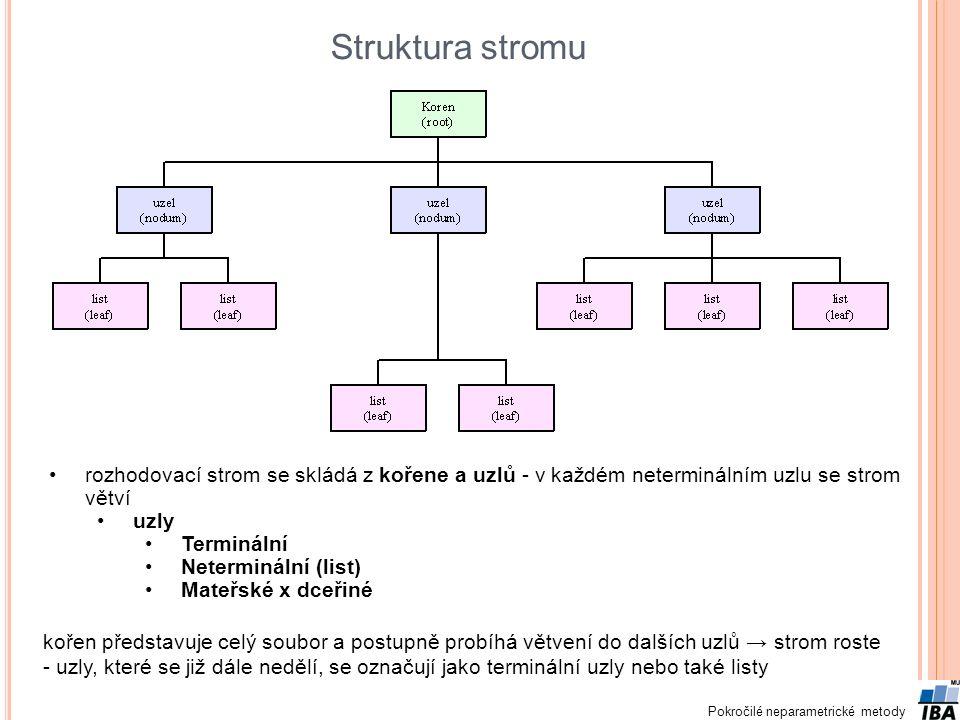 Struktura stromu rozhodovací strom se skládá z kořene a uzlů - v každém neterminálním uzlu se strom větví.