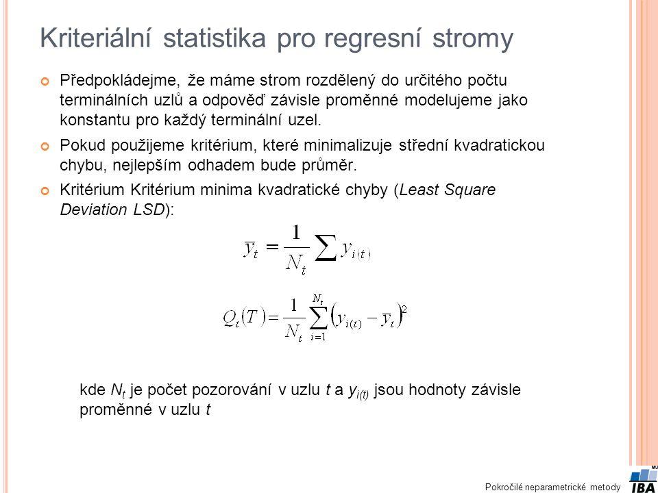 Kriteriální statistika pro regresní stromy