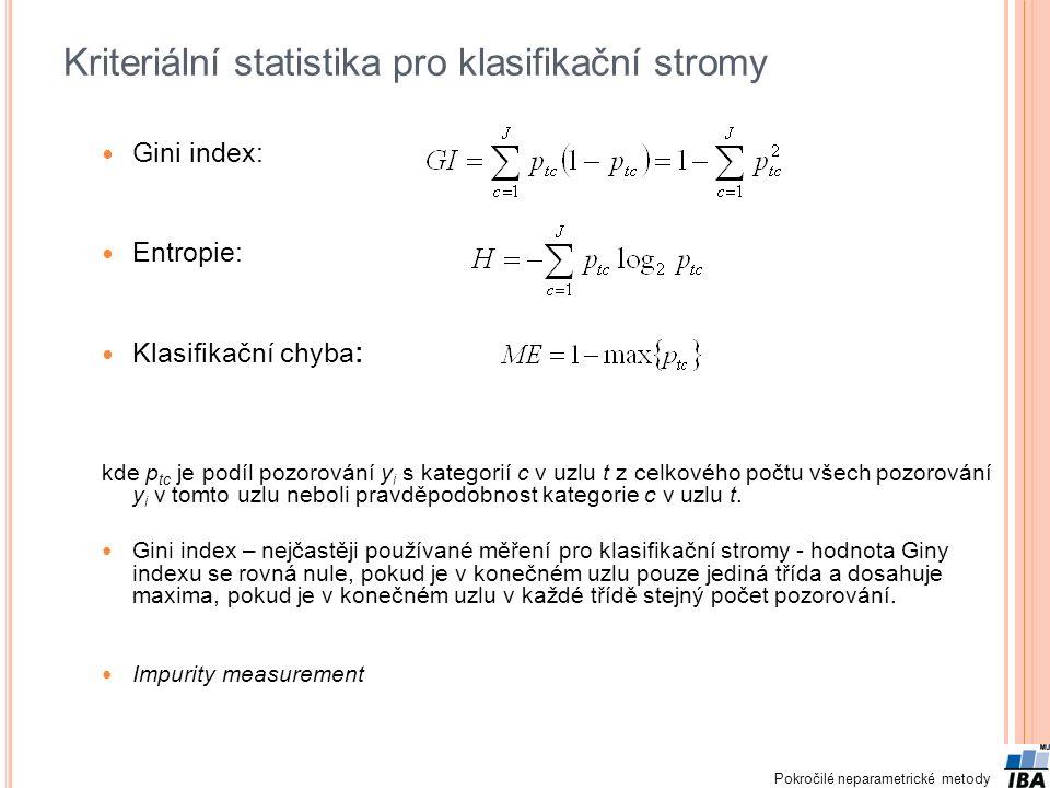Kriteriální statistika pro klasifikační stromy